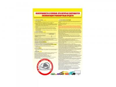 """Плакат """"Неисправности и условия, при которых запрещается эксплуатация транспортных средств"""""""