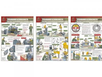 """Комплект плакатов """"Работы на металлообрабатывающих станках. Требования безопасности"""""""