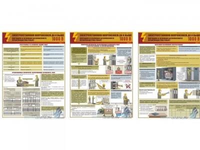 """Комплект плакатов """"Электроустановки напряжением до и выше 1000 В. Порядок и условия производства работ"""""""
